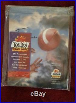 Vintage Nebraska Football 1996 Fiesta Bowl Program & Ticket BOTH signed Dr Tom