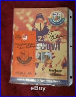Vintage Nebraska Football 1998 Orange Bowl Program & Ticket BOTH signed Dr Tom