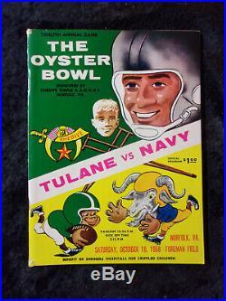 Vintage October 18, 1958 The Oyster Bowl Tulane vs Navy Football Program 270