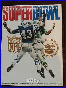 Vintage Official Program Super Bowl 3 from Jan. 1969 New York Jets Baltimore Col