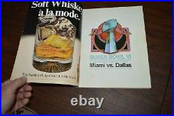 Vintage Super Bowl VI Program Superbowl 6 Football 1972 Miami vs Dallas Cowboys