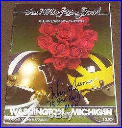 WARREN MOON SIGNED 1978 ROSE BOWL PROGRAM with PROOF! WASHINGTON vs MICHIGAN